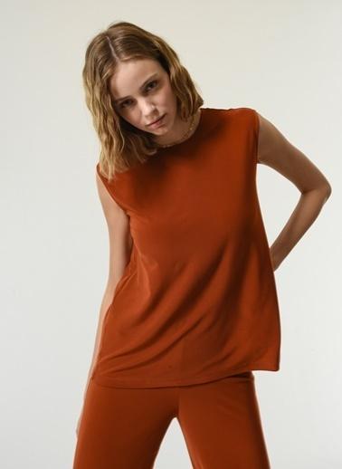 NGSTYLE NGSTYLE Kadın Örme Fit Basic Bluz Kiremit